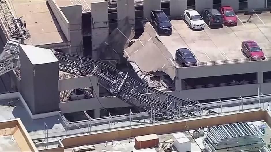 Bei Sturm über Dallas: Baukran zerteilt Wohnhaus - ein Mensch stirbt