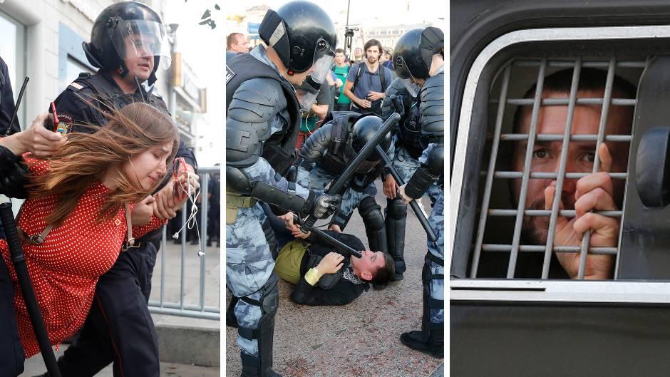 Zahlreiche Videos dokumentieren russische Polizeigewalt gegen regierungskritische Demonstranten