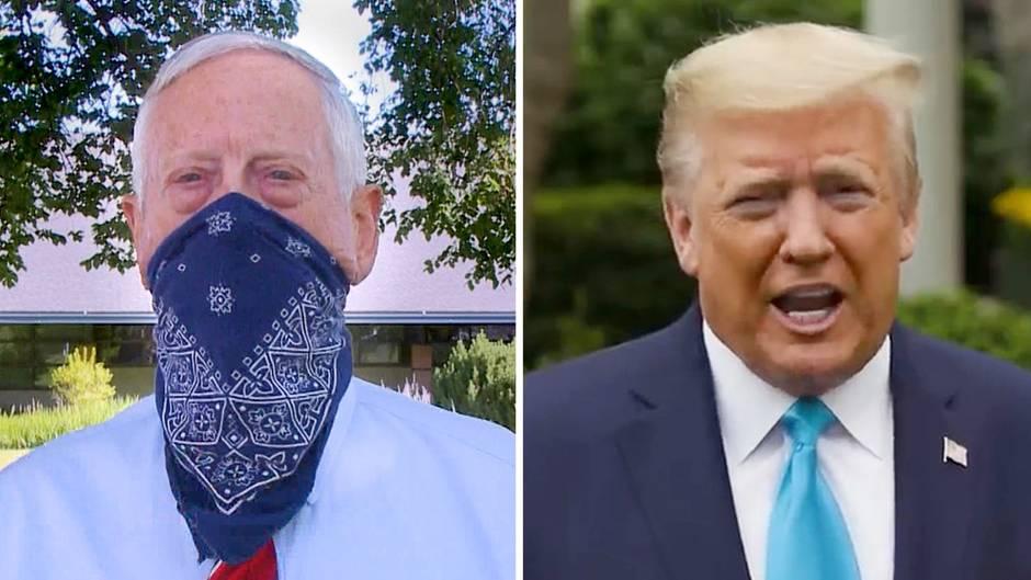 In einer Videobotschaft spricht sich der ehemalige US-Verteidigungsminister Jim Mattis für das Tragen von Atemschutzmasken aus.
