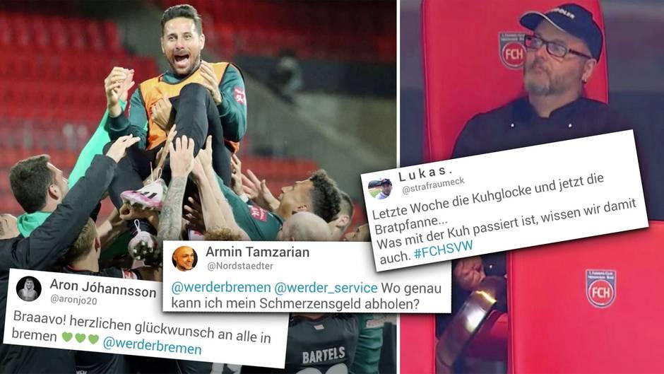 Werder feiert Klassenerhalt und Pizarro – Bundesligafans erzürnt eine Bratpfanne