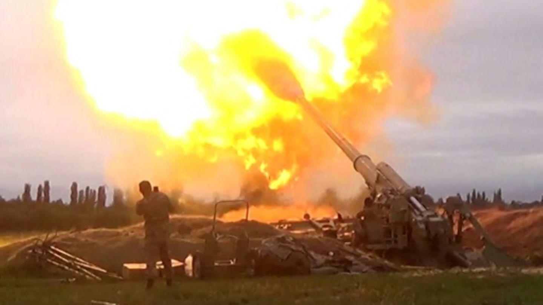 Foto der aserbaidschanischen Armee von den Kämpfen