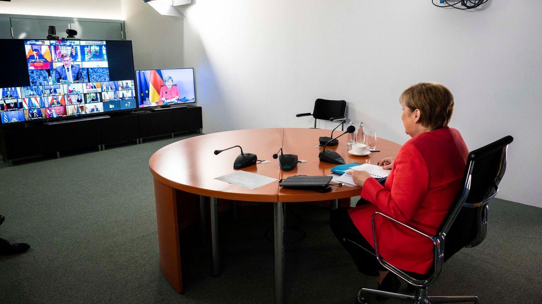 Bundeskanzlerin Angela Merkel (CDU) während einer Videokonferenz