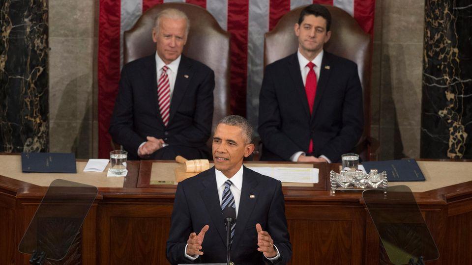 Januar 2016:Barack Obama (M.) hält seine letzte Rede zur Lage der Nationals US-Präsident