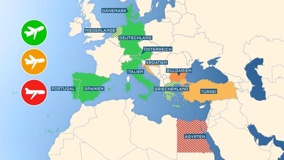 Reise 2021: Karte zeigt, in welchen Ländern könnte der Sommerurlaub klappen könnte.