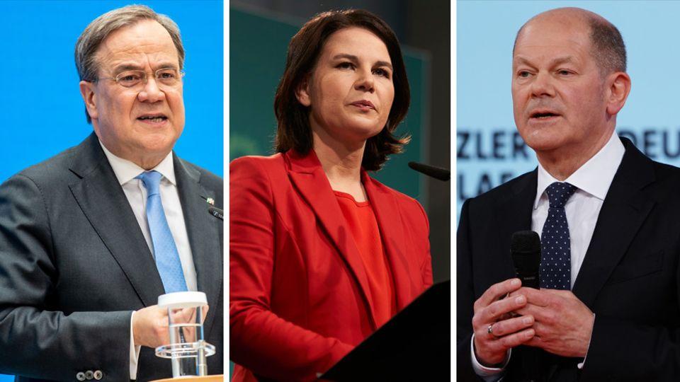 Die Kanzlerkandidaten, von links: Armin Laschet (CDU, für die Union), Annalena Baerbock (Grüne) und Olaf Scholz (SPD)